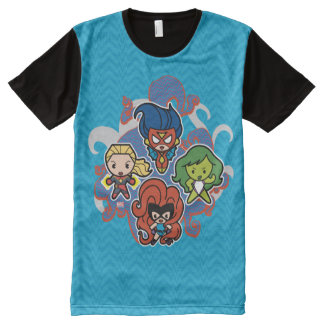 T-shirt Tout Imprimé Héroïnes superbes de merveille de Kawaii