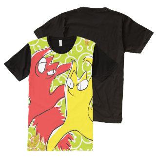 T-shirt Tout Imprimé Illustration drôle comique d'Asiatique de chat de