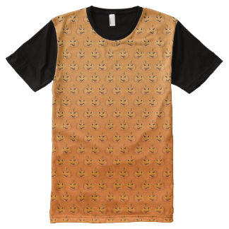 T-shirt Tout Imprimé motif orange de citrouille de Halloween