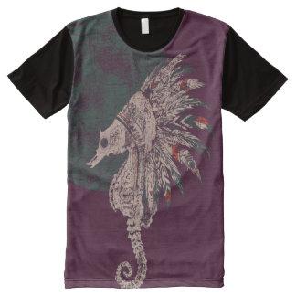 T-shirt Tout Imprimé nuit d'indigène d'hippocampe