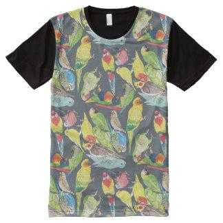 T-shirt Tout Imprimé Petits perroquets d'aquarelle
