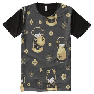 T-shirt Tout Imprimé Poupées japonaises et fleurs d'or noir élégant