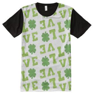 T-shirt Tout Imprimé Trèfle du jour de St Patrick d'amour