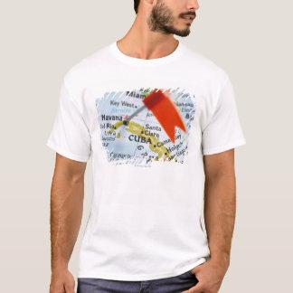 T-shirt Tracez la goupille placée à La Havane, Cuba sur la