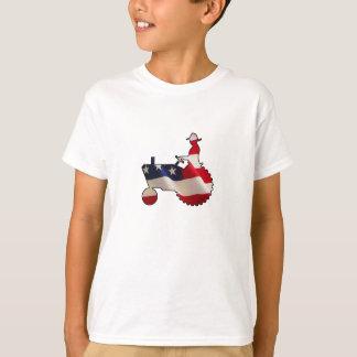 T-shirt Tracteur américain fier de drapeau des Etats-Unis