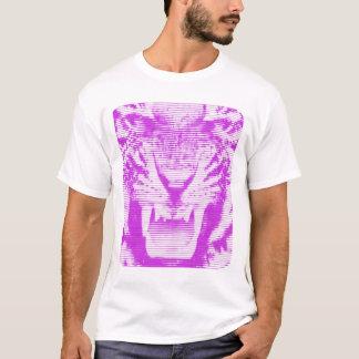 T-shirt Traits horizontaux de tigre pourpre fâché