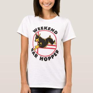 T-shirt Trémie de barre de week-end d'agilité de dobermann