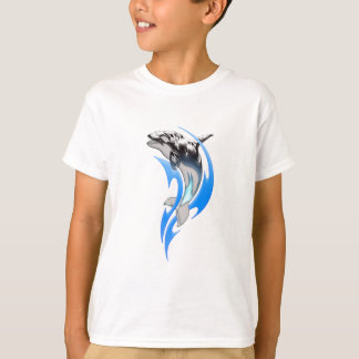 T-shirt tribal de blanc d'orque