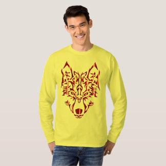 T-shirt tribal symétrique cramoisi de loup