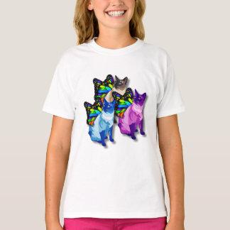 T-shirt Trois chats psychédéliques avec le cool d'ailes de