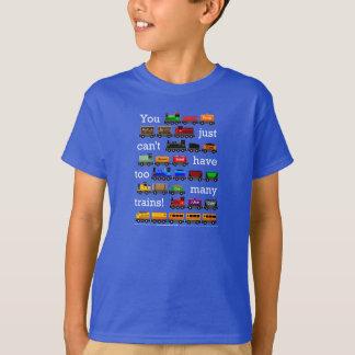 T-shirt Trop de trains ! Lettrage blanc