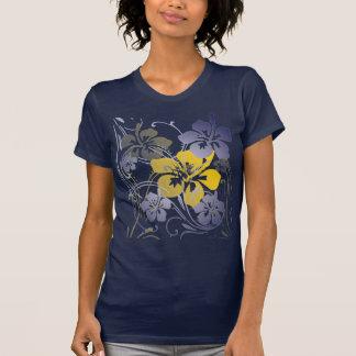 T-shirt tropical de visions (sur le bleu)