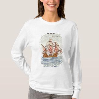 T-shirt Tuile d'Azulejos dépeignant un bateau, de Sagres