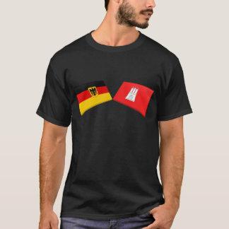 T-shirt Tuiles de drapeau de Hambourg, Allemagne