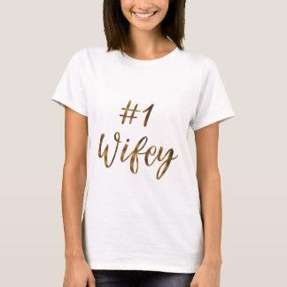 T-shirt Typographie WIFEY de feuille d'or d'écriture