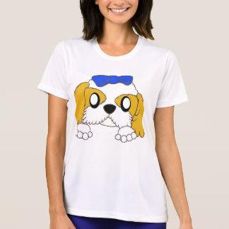 T-shirt tzu de shih jetant un coup d'oeil l'or et le blanc