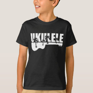 T-shirt ukulélé hawaïenne blanche
