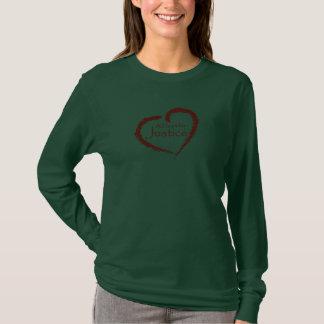 T-shirt Un coeur pour la longue chemise de douille de