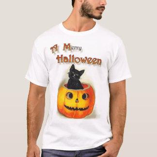 """T-shirt """"Un joyeux Halloween"""", chat noir et"""