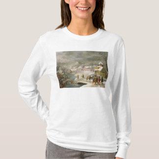 T-shirt Un paysage d'hiver avec des voyageurs sur un