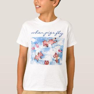 T-shirt un troupeau heureux de porcs de vol