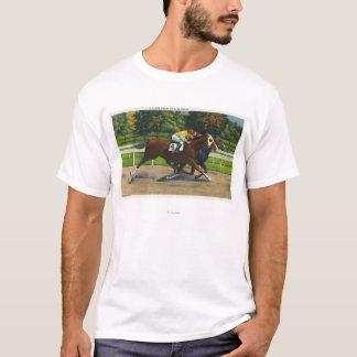 T-shirt Une finition étroite à la voie de course, chevaux