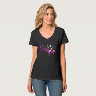 T-shirt Une pièce en t plus forte de V-Cou de noir de