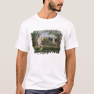 T-shirt Une scène de jardin, avec un garçon