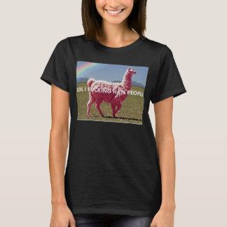 "T-shirt Unillama rose ""PERSONNES de HAINE de LOL I FCKING"