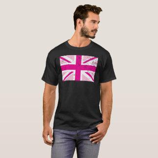T-shirt Union Jack s'est fané pièce en t rose de drapeau