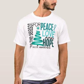 T-shirt Vacances PCOS de Noël d'espoir d'amour de paix