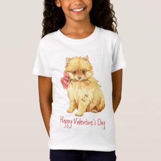 T-Shirt Valentine Pomeranian rose