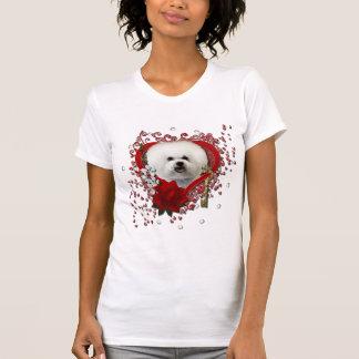 T-shirt Valentines - clé à mon coeur - Bichon Frise