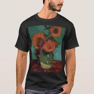T-shirt vase à Van Gogh avec trois tournesols