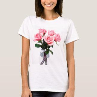 T-shirt Vase en verre de roses roses