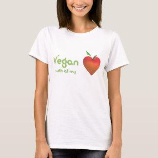 T-shirt Végétalien de tout mon coeur (coeur rouge de