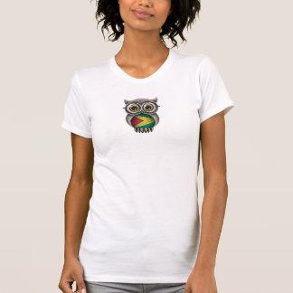 T-shirt Verres de port de hibou guyanais mignon de drapeau