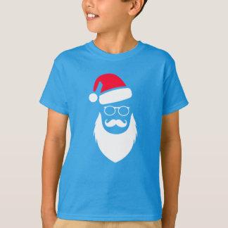 T-shirt Verres et moustache de barbe de Père Noël Red Hat