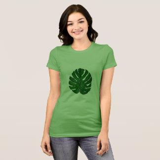 T-shirt vert de feuille de Monstera des femmes