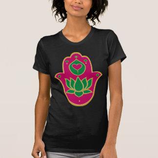 T-shirt Vert et rose de Hamsa Lotus de henné