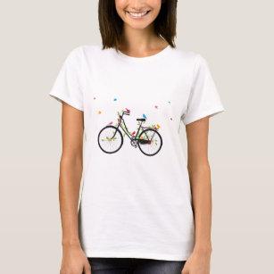 T-shirt Vieille bicyclette vintage avec des fleurs et des