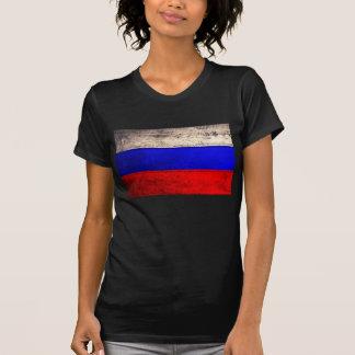 T-shirt Vieux drapeau en bois de la Russie ;