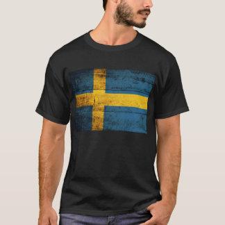 T-shirt Vieux drapeau en bois de la Suède ;
