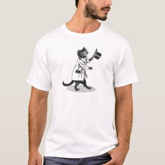 T-shirt vintage d'art de chat frais de casquette
