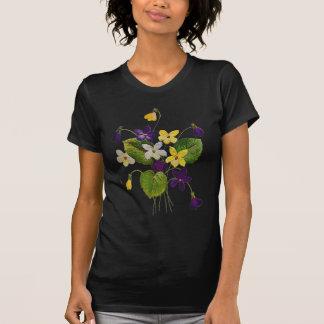 T-shirt Violettes sauvages assorties faites en broderie de
