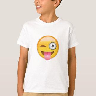 T-shirt Visage avec coincés la langue et l'oeil Emoji de