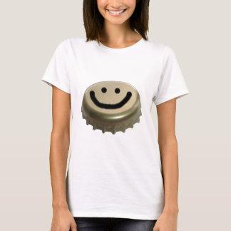 T-shirt Visage de smiley de casquette de bouteille à bière