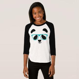 T-shirt Visage mignon de panda avec des verres