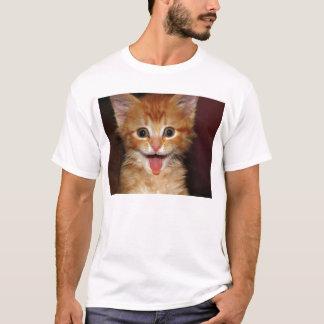 T-shirt Visage orange drôle de minou