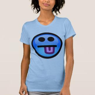 T-shirt Visage souriant bleu avec la langue collant.